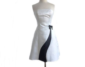 Vintage 90s Jessica McClintock for Gunne Sax Black & White Strapless Satin Cocktail Dress/ formal homecoming prom dress/ Fit Flare