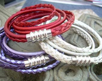 Womens Leather Bracelets for Women Leather Wrap Bracelet Stainless Steel Magnetic Clasp Double Womens Bracelet Womens Jewelry red purple