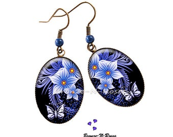 """Earrings """"blue flowers and Butterfly"""" fantasy glass cabochon bronze jewelry"""