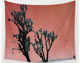 California Joshua Trees Wall Tapestry, California Wall Art, Orange Photo Tapestry, Desert Tapestry, Living Room Wall Art,