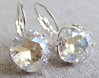 Swarovski Champagne Prism Diamond Cushion Cut Square Crystal Silver Leverback Dangling Earrings Bridal Wedding Jewelry Bridesmaids Gifts