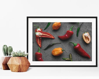 peppers v. two // food photography print // kitchen decor // kitchen wall art  // dining room wall art // rustic wall art // chili peppers