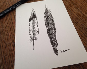 """Original Ink Drawing, Nature Art, Bird Feathers, Black and White, Feather Illustration, Feather Art Drawing, Small Drawing, 5 x 7"""""""