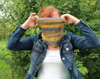Easy Cowl Knitting PATTERN PDF, Knitted Cowl Pattern, Lace Shawl Wrap - Striping Cowl