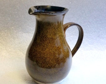 Wheel Thrown Pottery Pitcher in Tea Dust Amber with Golden Highlights