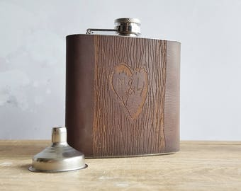 Tree carving flask, love heart custom leather flask engraved tree couples wedding gift his and hers bride and groom gift anniversary flask