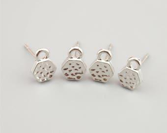 5 Pairs White K Hexagon Earring Stud,Earring Post ER003
