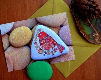 I Sassi dell'Adriatico - Greeting Card - Painted stone Bird -