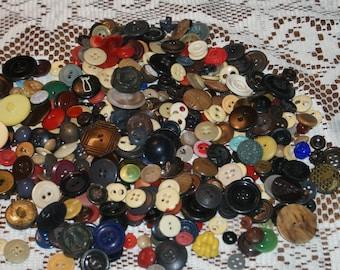 "Vintage Bulk 10 oz  Mix Colored Buttons  3/8 to 1""  Lot 1965"