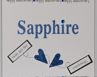 Lovely Handmade Personalised 2 3d Anniversary Card. Sapphire. Mum and Dad, Aunt and Uncle, Nana and Grandad, Friends,etc.