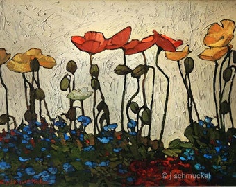 Poppies In The Sun - Giclee Fine Art PRINT of Original Painting matted 16x20 by Jan Schmuckal
