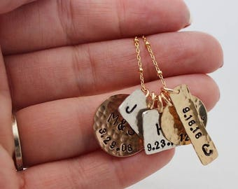 mixed metals family necklace, kids names jewelry, gold silver pink, initials, birthdates, stamped pendants, mothers necklace
