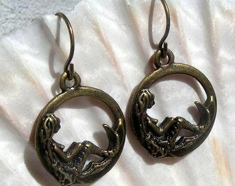 Antique Brass Earrings, Mermaid, Dangle Earrings,Jewelry