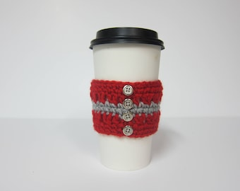 Coffee Cup Cozies, Metallic Cup Cozy, Button Cozies, Red and Grey Cozy, Crochet Cozy, Cozy for Cup, Cozies, Red Cup Cozy, Cozies Crocheted