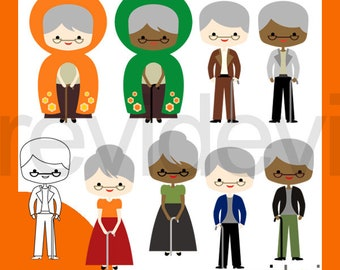 Senior old people clipart / grandma grandpa clip art / grandparents characters, old man, old woman clipart download