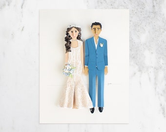 Wedding Gift. Custom Wedding Portraits, One Year Paper Anniversary Gift, One of a kind Wedding Gifts, Paper Portraits