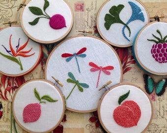 Hoop Art by mlmxoxo.  Farmers Market Collection.  fruit.  flower.  ginkgo. radish. peach. lemon. raspberry.  dragonfly.  embroidery hoop art