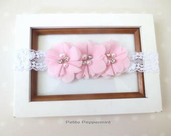 Pink baby headband, pink bow headband, toddler headband, newborn headband, infant headband, girl headband, pink baby hair bow