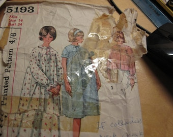 """Original 1960's Simplicity nightdress and bed jacket  used  sewing pattern size 14 bust  34"""" stock reference SP  Number 29"""