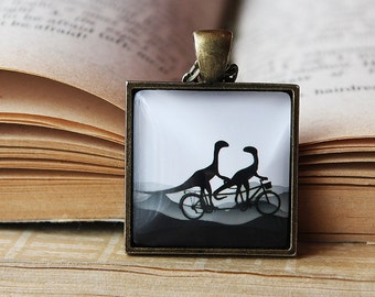 DINO Bicycle - Dinosaurs on bicycle Necklace - T-Rex- Love - Dinosaurs Silhouette Jewelry - Dinosaurs on bike Pendant - Dino Collection