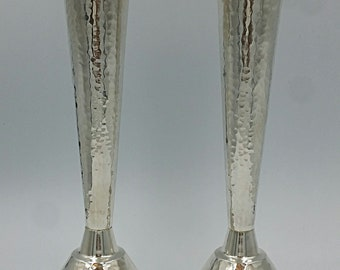 """A pair of 925 handmade sterling silver """"Pesach"""" candlesticks, hammered or Smooth"""
