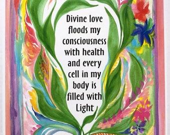 Divine Love 8x11 Inspirational Health Poster Motivational Self Love Eating Disorder Spiritual Meditation Heartful Art by Raphaella Vaisseau