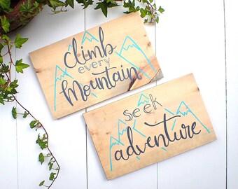 Wood Sign, Mountain Decor, Mountain Sign, Adventure Decor, Mountain Painting, Mountain Theme, Nursery Decor, Playroom Decor, Mountain Art