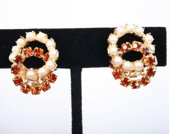 vintage WEISS RHINESTONE Estate Costume Earrings - clip on, signed designer