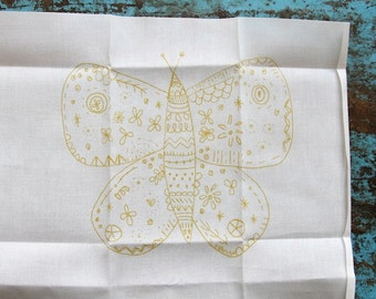 embroidery pattern on fabric medium yellow Butterfly