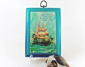 Vintage Sailing Ship Starfish Wall Hanging w Sea Quote Distressed Turquoise Frame Seaside Inspired Decor