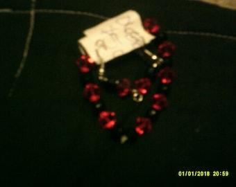Red and Black Glass Bead Earring Bracelet set