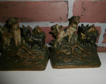 Vintage antique painted metal  book ends set 2 with hunting dogs terriers at base of tree heavy