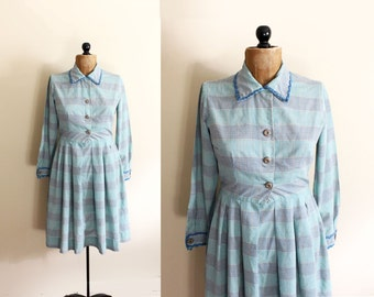 vintage dress 50s mint green plaid ric rac handmade house shirt 1950's womens clothing size s small