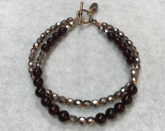Genuine Garnet & Czech Glass Beaded Double Strand Bracelet with Copper Accents