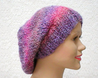 Slouchy hat, purple pink grey, striped hat, winter hat, knit hat, toque, slouchy beanie, womens hat, chemo cap, pink grey purple hat, hiking