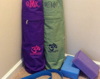 Cotton Drawstring Monogrammed Yoga Mat Bag w Embroidered Namaste Design