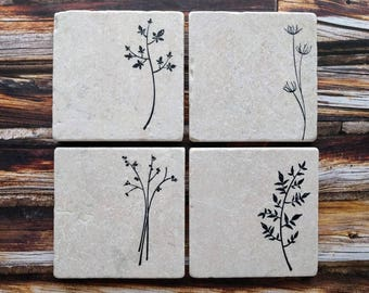 Herb Stone Coaster, Plant Coasters, Gift for Mom, Nature Lover Gift, Gardener Gift, Grandmother Gift, Mother's Day Gift,  Herb Coasters