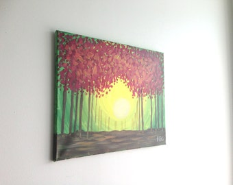 Abstract Nature Painting, Landscape Painting, Nature Art, Nature Painting, Wall Art, Wall Painting, Pointilism, Tree Painting, Abstract