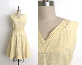 vintage 1940s dress | 40s calico print cotton dress
