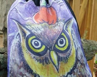 Owliween - Angry Owl - Knitting Bag - Tarot Bag - Owl Purse - Owl Art - Pumpkin Art - Pumpkin Purse - Forest Art - Owl Drawing - Cute Owls