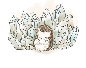 Crystal Quartz III, Hedgehog - 5x5 Print