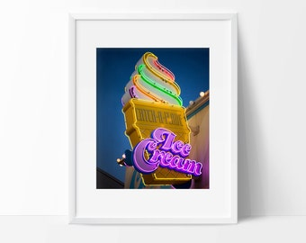 Neon Ice Cream Cone Sign Photo | Retro Kitchen Wall Decor | Neon Sign | Fine Art