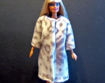 White and Gray Snowflake Fleece Barbie Coat