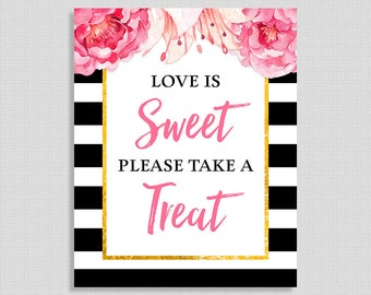 Love Is Sweet Please Take a Treat Shower Favor Sign, Black & White Stripe Peony Bridal Shower, INSTANT PRINTABLE
