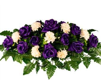 Cemetery flowers etsy purple roses and cream mums cemetery saddle cemetery flowers silk flower arrangement sd1827 mightylinksfo Choice Image