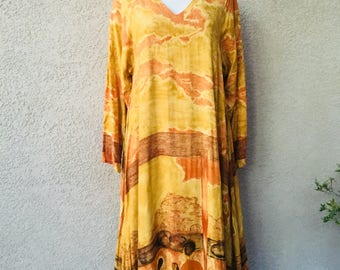 Vintage 1980s 1990s earth tone yellow Art Deco tent flowy flared dress size S M