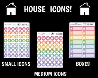 370 | House Icon Rainbow Reminders, Choose Icons or Boxes {14+ Fancy Matte or Glossy Planner Stickers}
