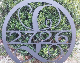 15 INCH Circle Monogram with House Numbers, Metal Wall Art, 15 Inch Round Monogram Metal Sign, Custom Metal Sign With House Number