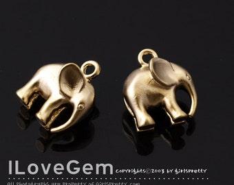 NP-1744 Matt Gold Elephant, 10mm Elephant Charm, Elephant  Pendant, Animal Charm Necklace Pendant, Animal Pendant charm, 2pcs