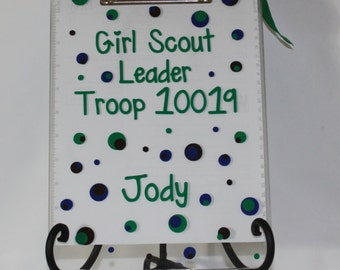 "Personalized Scout Appreciation Clip Board - ""Scout Leader"" with Name - Thank You - Christmas - End of Year - Club - Gift"